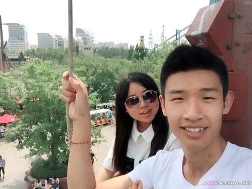 Super cute chinese girl passionate with her boyfriend's hotel when traveling