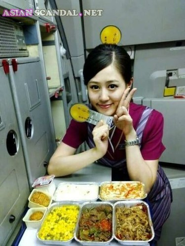 Asian angel face stewardess provide special room service to VIP