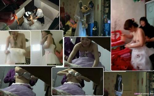 Wedding photo studio shoots the bride to change clothes